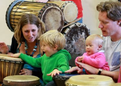 Harris family at drumming workshop smallbsharp-building-a-sound-future-music-charity