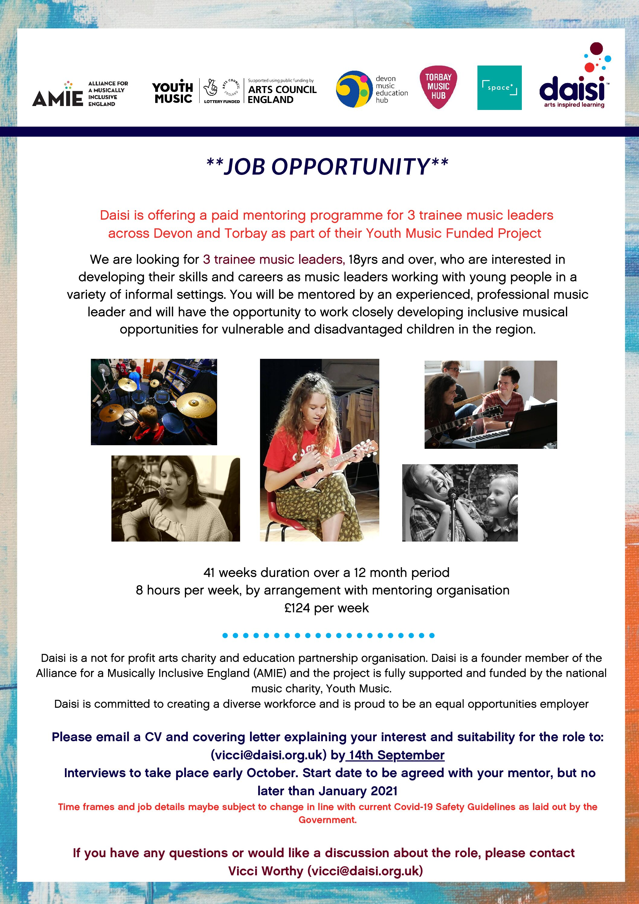 Job Opportunity – Trainee Music Leader Mentoring program